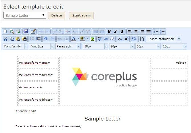 letters reports online practice management software coreplus