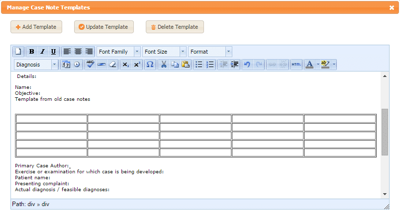 Creating case notes templates