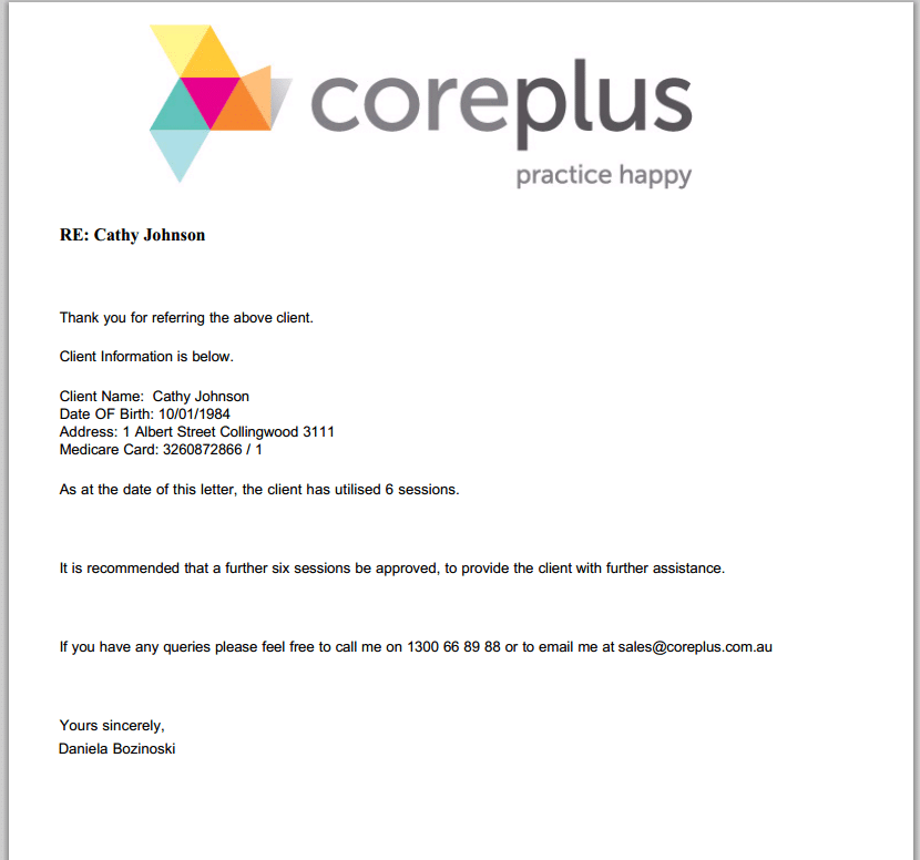 Letters reports online practice management software coreplus easily create a letter spiritdancerdesigns Image collections